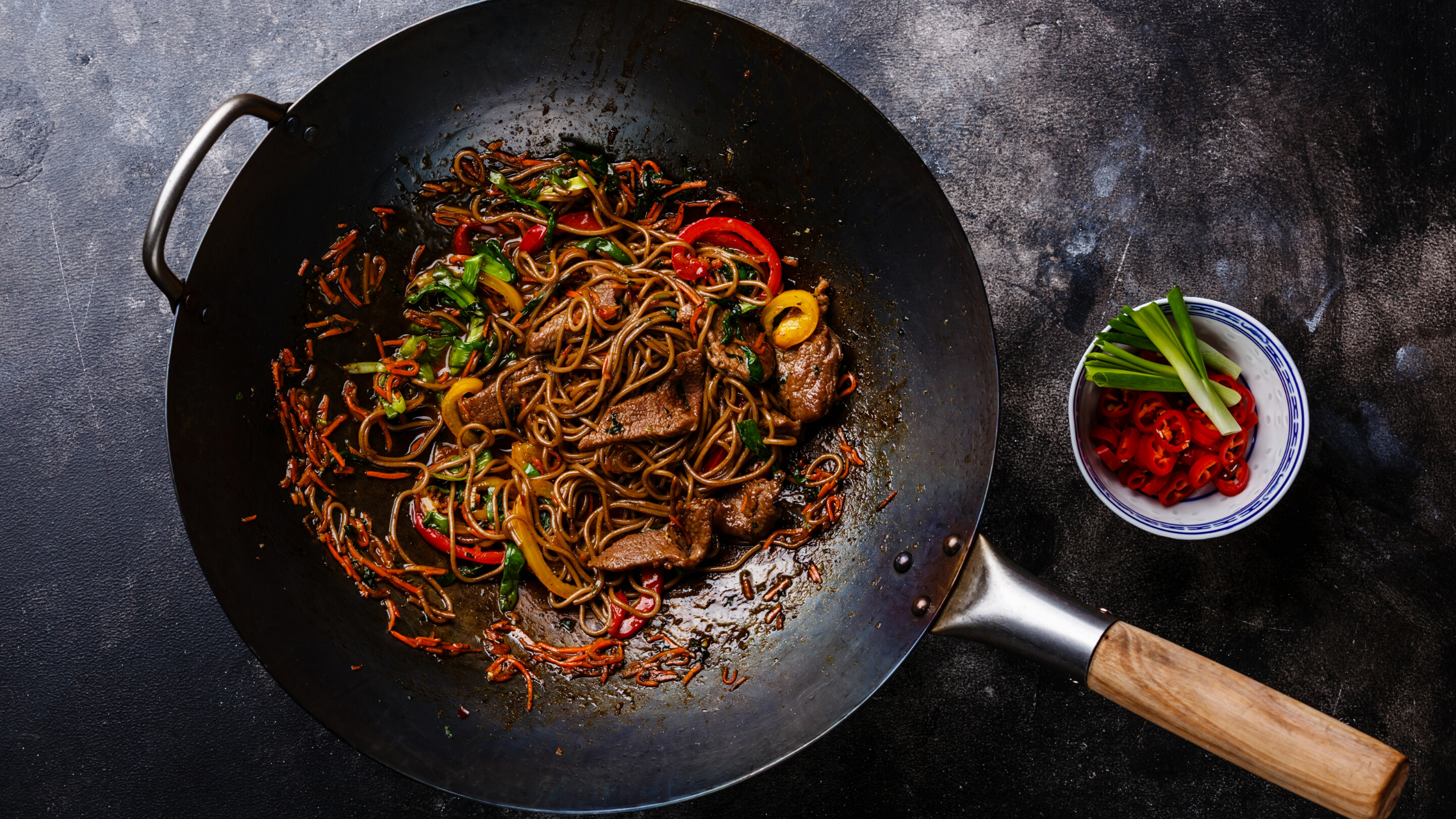 Glass Noodle Stir Fry with Shaved Beef and Vegetables